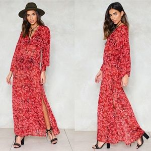 NASTY GAL Diffuse Maxi Sheer Floral Dress